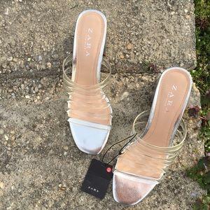 Zara Clear Strappy Block Heel Slide Sandal Size 9